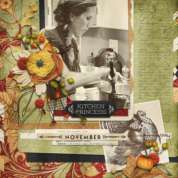 """Kitchen Princess"" digital scrapbooking layout by Brandy Murry"