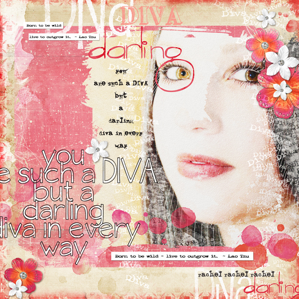 Darling Diva layout by Brandy Murry. See below for links to all products used in this digital scrapbooking layout.