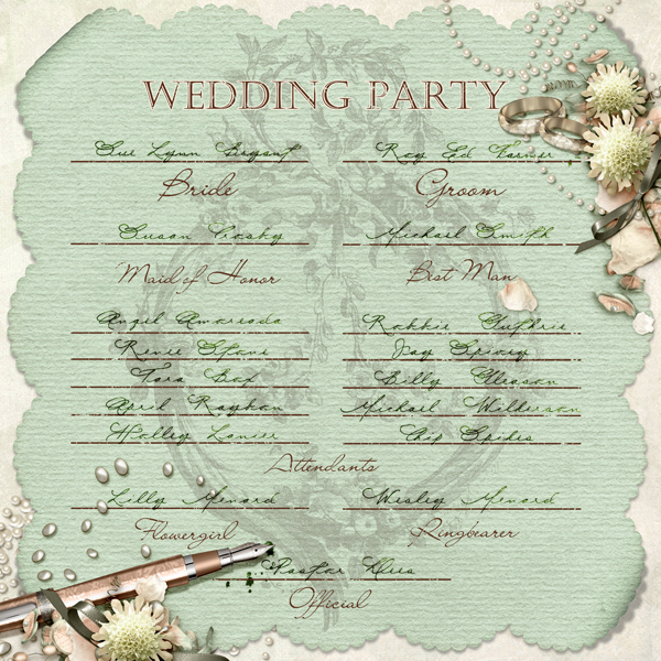 Wedding Party layout by Brandy Murry. See below for links to all products used in this digital scrapbooking layout.