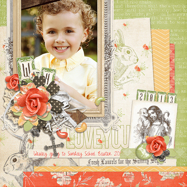 Easter Sunday School digital scrapbooking layout by Brandy Murry