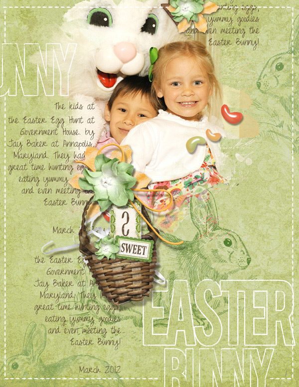 Easter Bunny digital scrapbooking layout by Brandy Murry