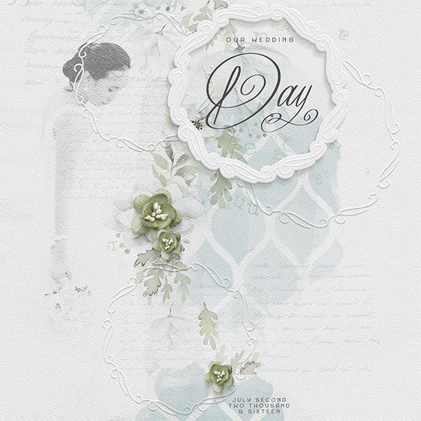 Embossed digital scrapbooking Wedding layout by Brandy Murry