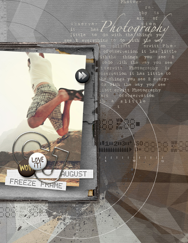 """""""Freeze Frame"""" digital scrapbooking photography layout by Brandy Murry"""