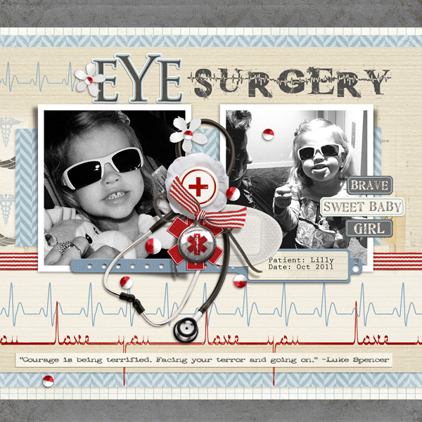 Lilly's Eye Surgery layout by Brandy Murry. See below for links to all products used in this digital scrapbooking layout.