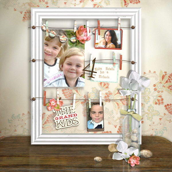 The Grand Kids layout by Brandy Murry. See below for links to all products used in this digital scrapbooking layout.