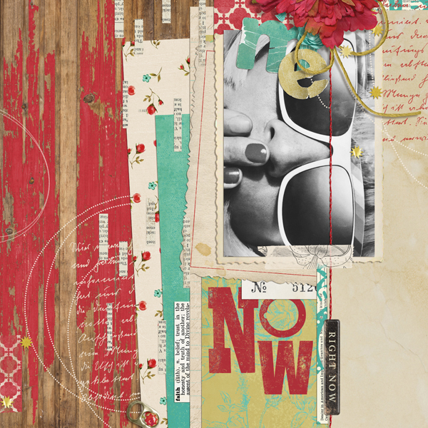 """Right Now"" digital scrapbooking layout by Brandy Murry"