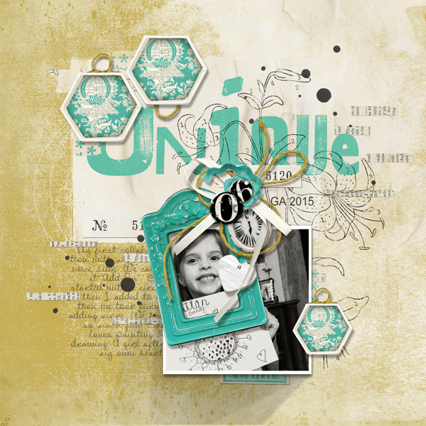 """Unique"" digital scrapbooking layout by Brandy Murry"