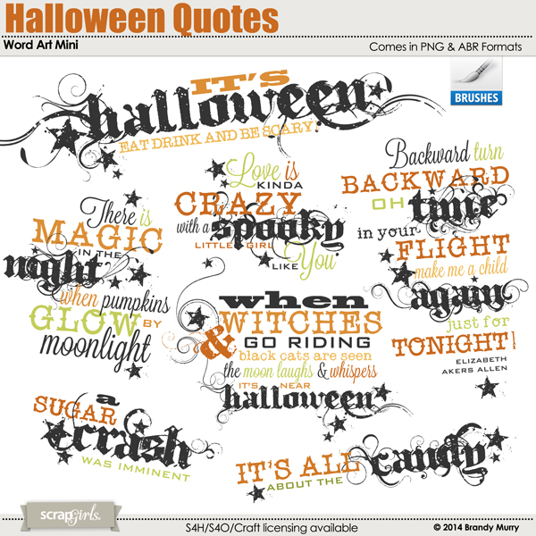 Halloween Quotes Word Art Mini