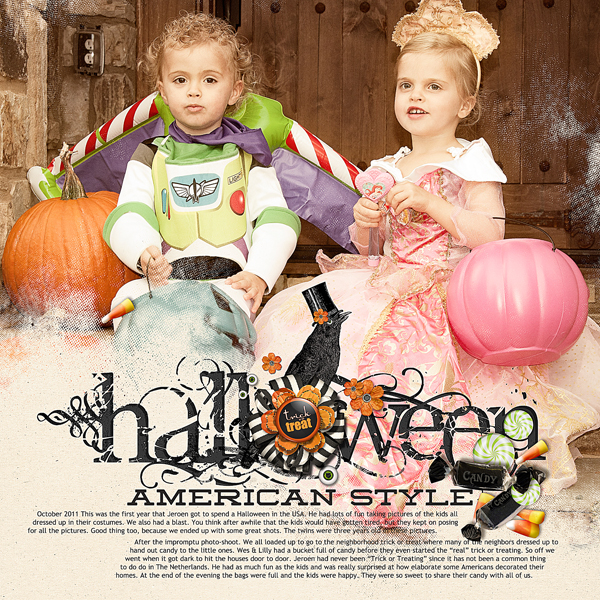 """Halloween American Style"" digital scrapbooking layout by Brandy Murry. See below for links to all products used in this digital scrapbooking layout."