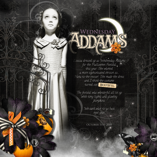 Wednesday Addams layout by Brandy Murry. See below for links to all products used in this digital scrapbooking layout.