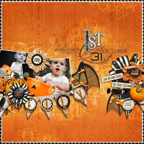 First halloween layout by Brandy Murry. See below for links to all products used in this digital scrapbooking layout.
