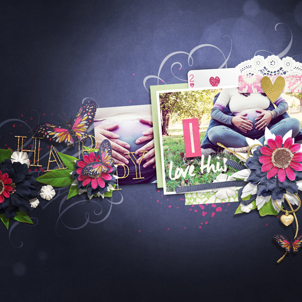 """Happy"" digital scrapbooking layout by Brandy Murry"