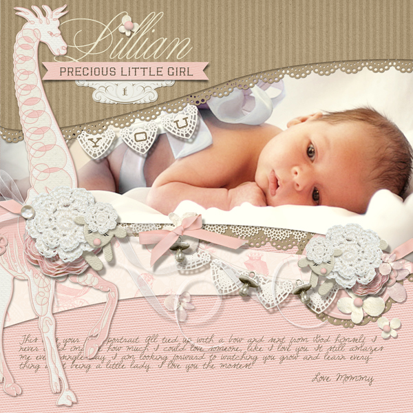 """Precious Baby Girl"" digital scrapbooking layout by Brandy Murry."