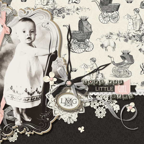 """Love You Little Girl"" digital scrapbooking layout by Brandy Murry."