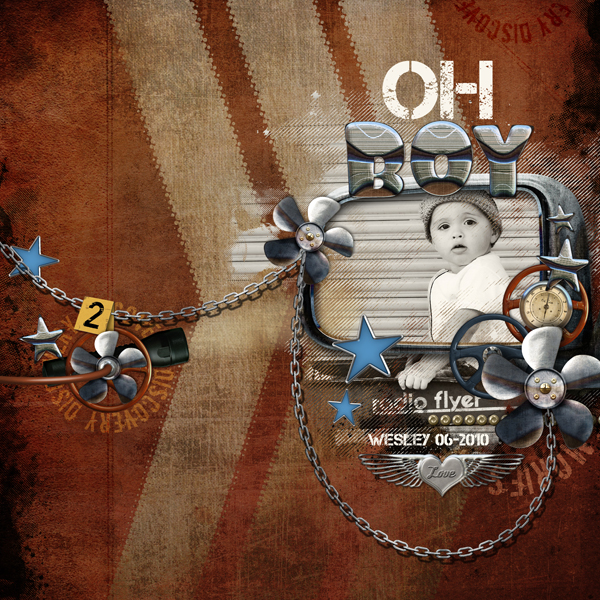 Oh Boy layout by Brandy Murry. See below for links to all products used in this digital scrapbooking layout.