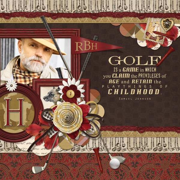 Golf layout by Brandy Murry. See below for links to all products used in this digital scrapbooking layout.