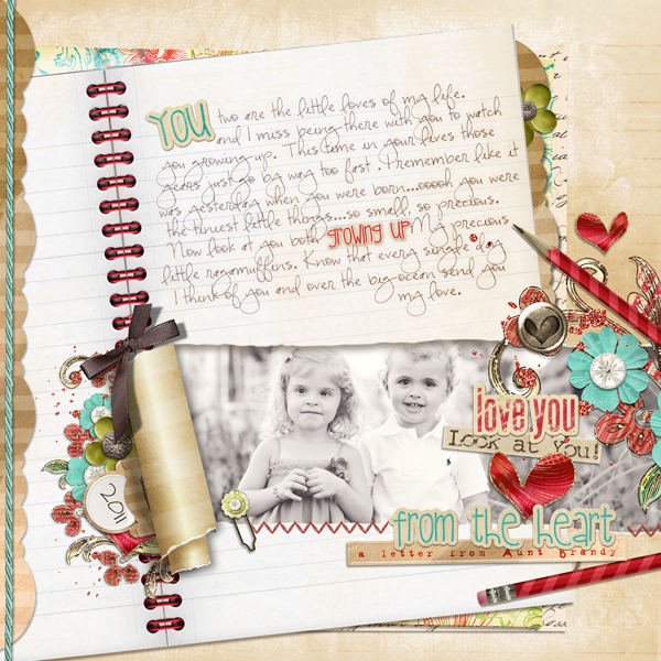 """Letter from Aunt Brandy layout by Brandy Murry. See below for links to all products used in this digital scrapbooking layout."
