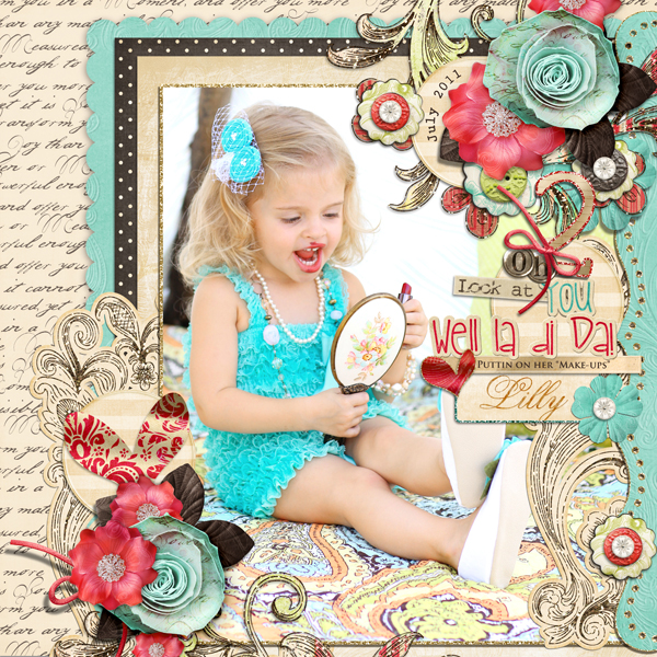 """LaDiDa"" layout by Brandy Murry. See below for links to all products used in this digital scrapbooking layout."