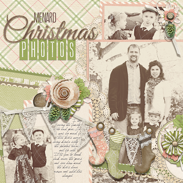 """Christmas Photos"" digital scrapbooking layout by Brandy Murry. See below for links to all products used in this digital scrapbooking layout."