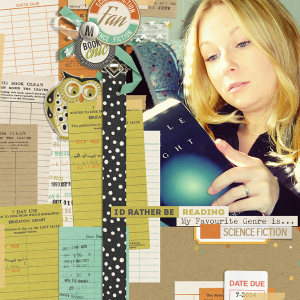 """I'd rather be Reading"" digital scrapbooking reading layout by Brandy Murry"