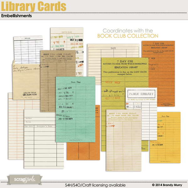 Included in the Book Club Value Pack: Library Cards Embellishments