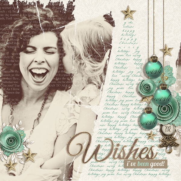 """Christmas Wishes"" digital scrapbooking layout by Brandy Murry. See below for links to all products used in this digital scrapbooking layout."