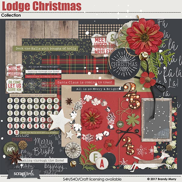 Lodge Christmas digital scrapbooking Collection