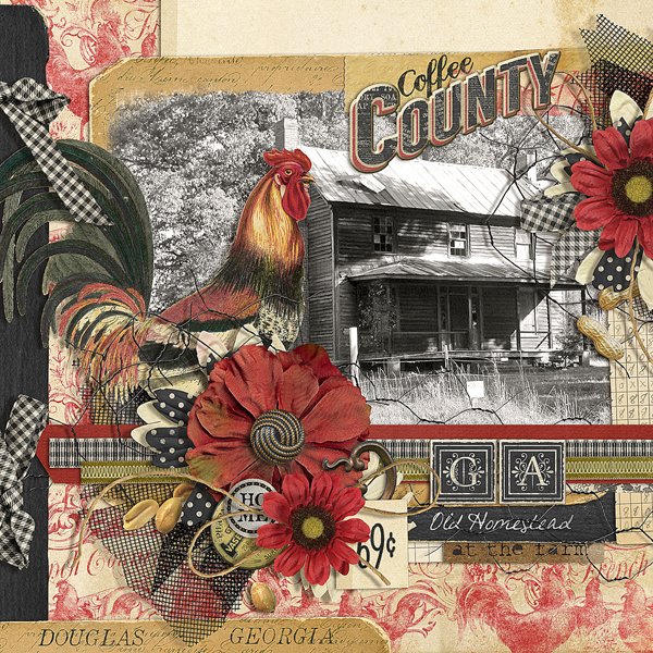 """Coffee County"" digital scrapbooking layout by Brandy Murry"