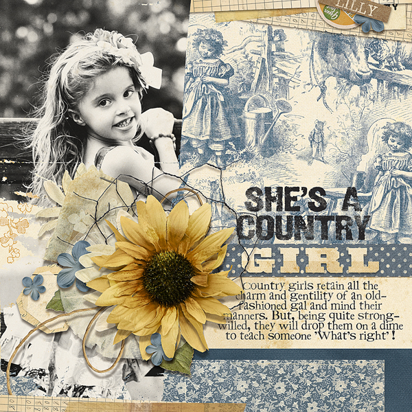"""She's A Country Girl"" digital scrapbooking layout by Brandy Murry"