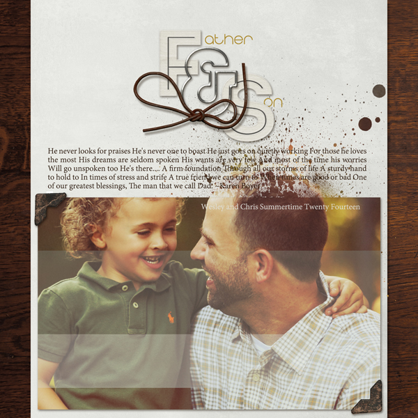 """Father & Son"" digital scrapbooking layout by Brandy Murry"