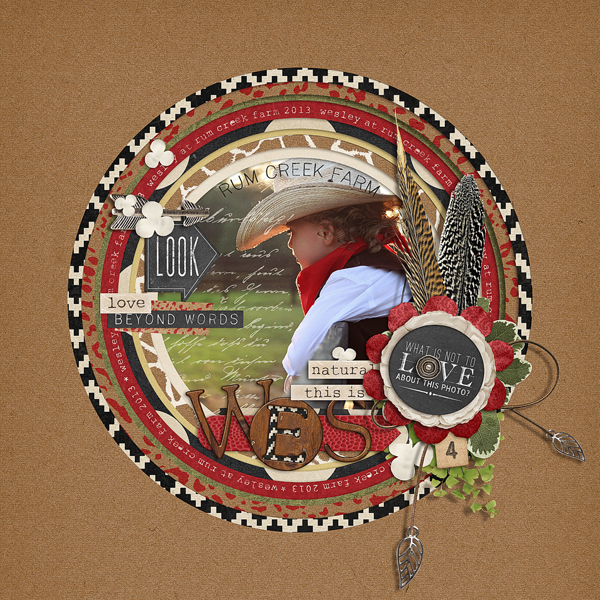 """Rum Creek Farm"" digital scrapbooking layout by Brandy Murry."