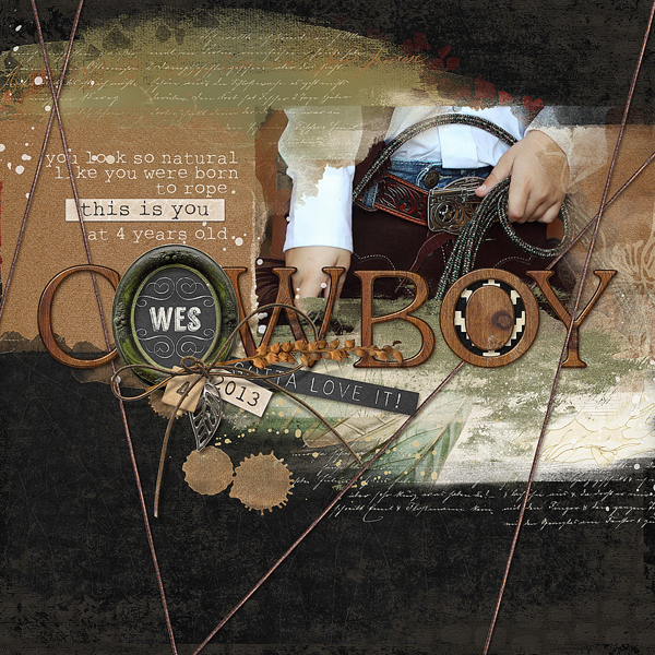 """Cowboy"" digital scrapbooking layout by Brandy Murry."