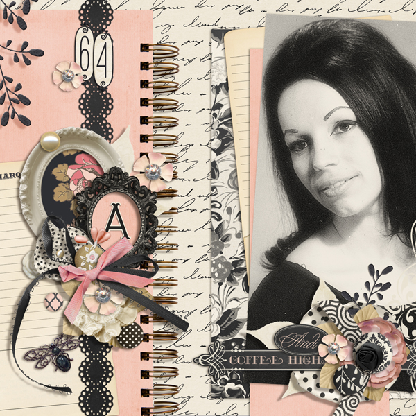 """Andi"" digital scrapbooking layout by Brandy Murry."