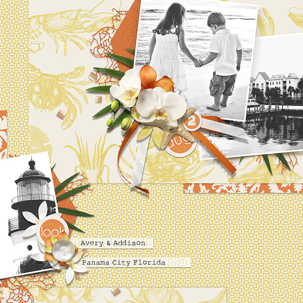 """Avery & Addison"" digital scrapbooking layout (above) by Brandy Murry."