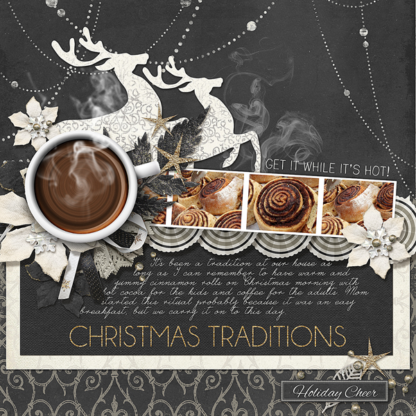 Black & White Christmas digital scrapbooking layout by Brandy Murry
