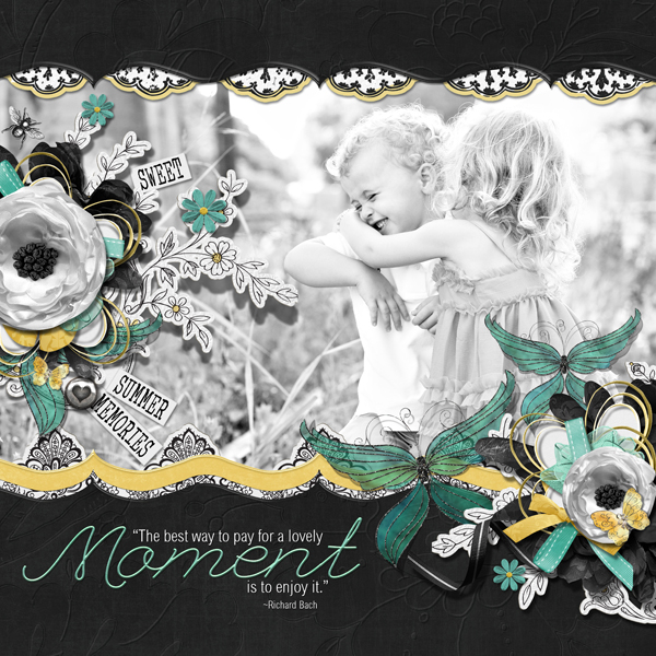 """A Lovely Moment layout by Brandy Murry. See below for links to all products used in this digital scrapbooking layout."