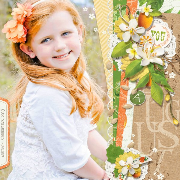 """Addison in August"" summer digital scrapbooking layout by Brandy Murry"
