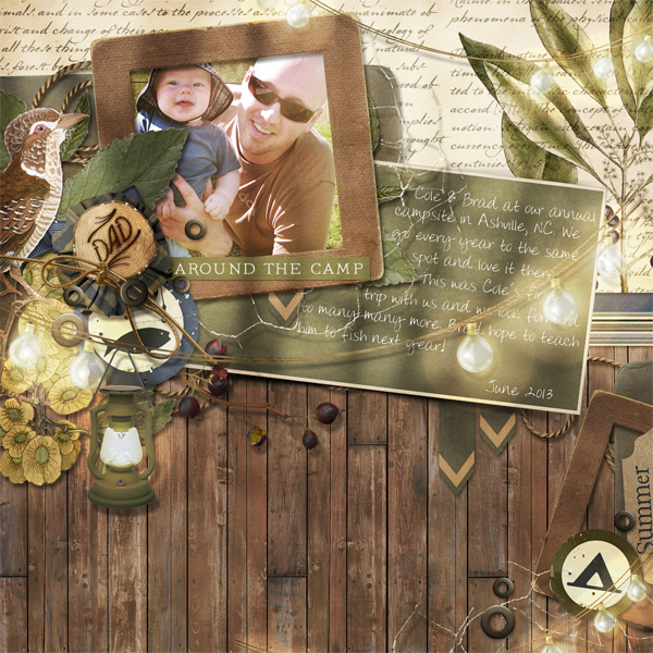 """Around the Camp"" digital scrapbooking layout by Brandy Murry"