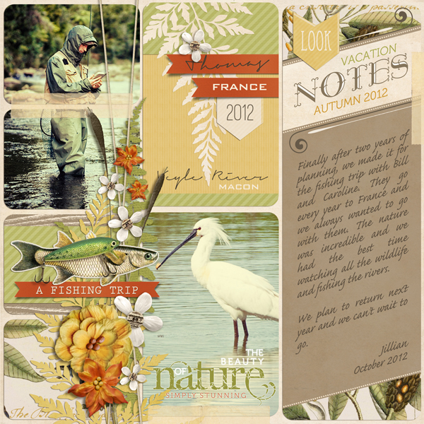 """""""Vacation Notes"""" digital scrapbooking layout by Brandy Murry."""