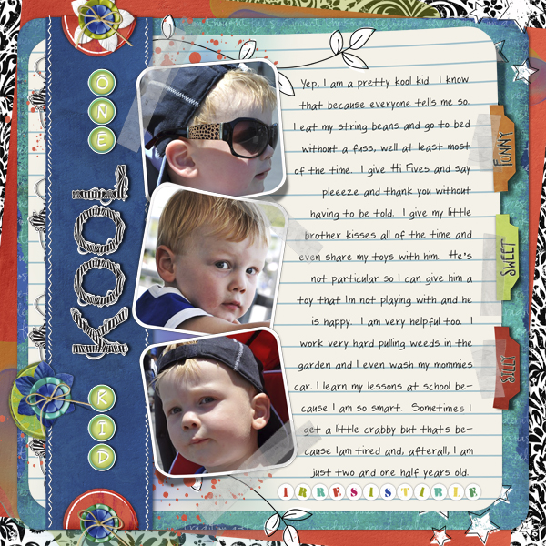 One Cool Kid layout by Joyce Schardt. See below for links to all products used in this digital scrapbooking layout.