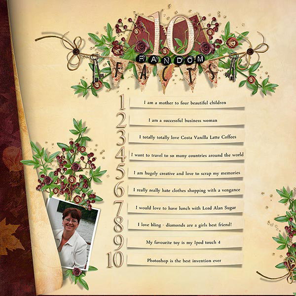 10 Random Facts layout by Sonia Payne. See below for links to all products used in this digital scrapbooking layout.