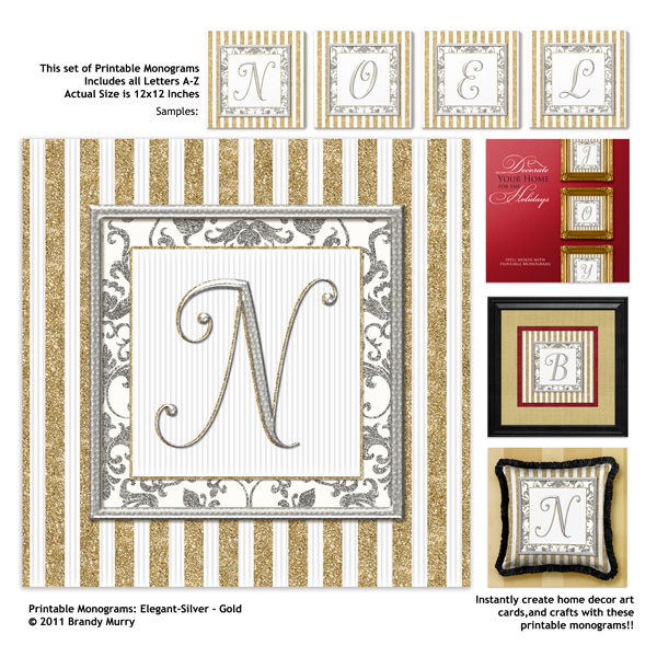 Printable Monograms: Elegant - Silver and Gold