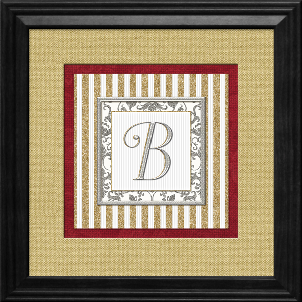 Printable Monograms: Elegant - Silver & Gold Framed Initial Sample