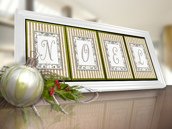 Printable Monograms: Silver & Gold Framed Noel Sample