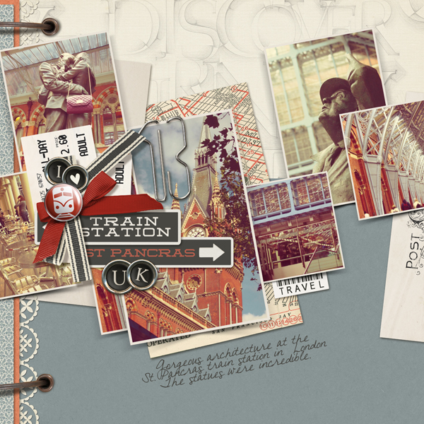 """Pancras Station"" digital scrapbooking layout by Brandy Murry"