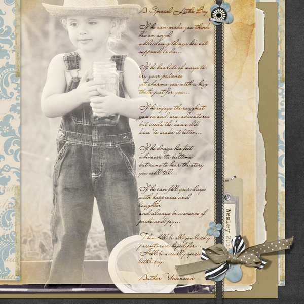 Special Little Boy layout by Brandy Murry. See below for links to all products used in this digital scrapbooking layout.