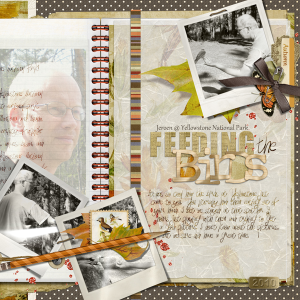 Feeding the Birds layout by Brandy Murry. See below for links to all products used in this digital scrapbooking layout.