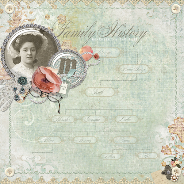 Family History layout by Brandy Murry. See below for links to all products used in this digital scrapbooking layout.