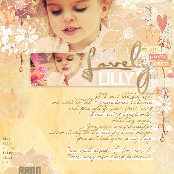 """Lovely Lilly"" digital scrapbooking layout by Brandy Murry."