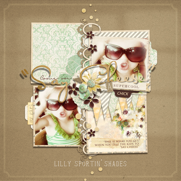 """Say Cheese"" digital scrapbooking layout by Brandy Murry."